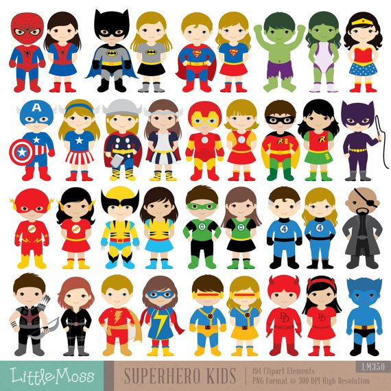 36 Kids Superhero Costumes Clipart Superheroes Kids by LittleMoss