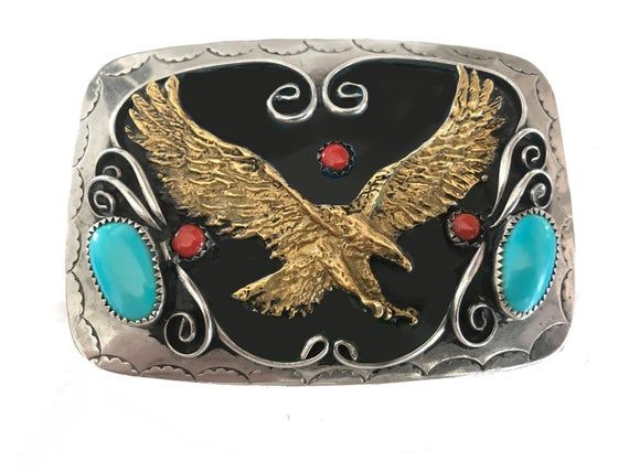 Classic Soaring EAGLE Antique Silver color BELT BUCKLE Full Metal Western USA