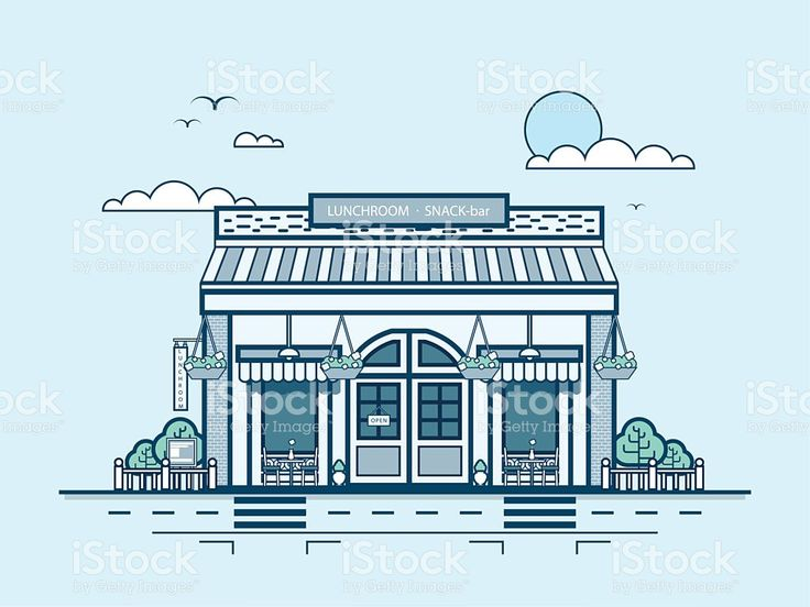 Городской улицы с закуской в баре и бистро, кафе и современной архитектуры Сток Вектор Стоковая фотография