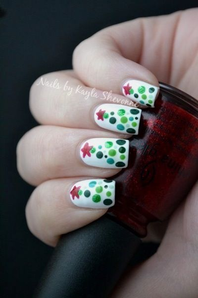 Nails by Kayla Shevonne: Christmas Nail Art - Dotted Christmas Trees