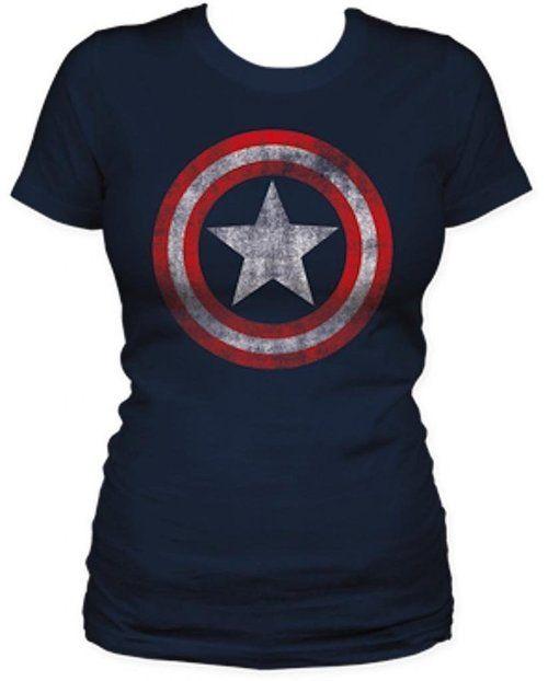 Captain America Star Distressed Logo Juniors T-shirt