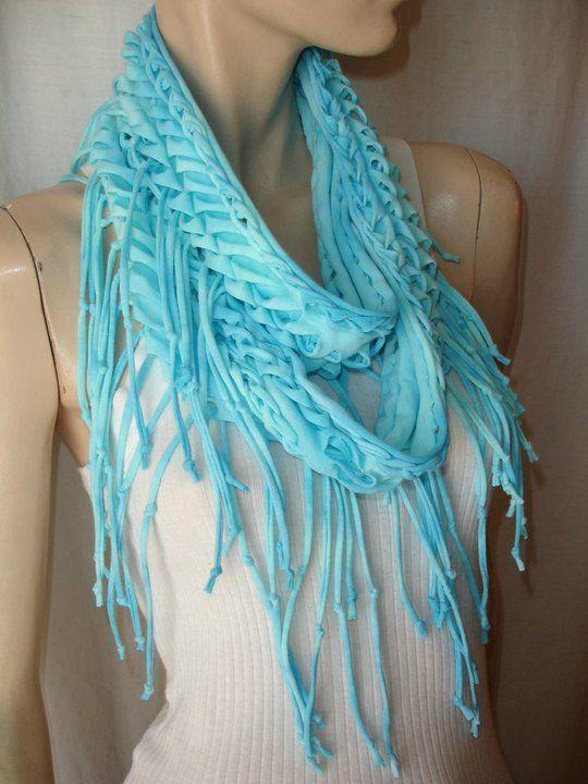 рукодельные шарфы из футболок 4