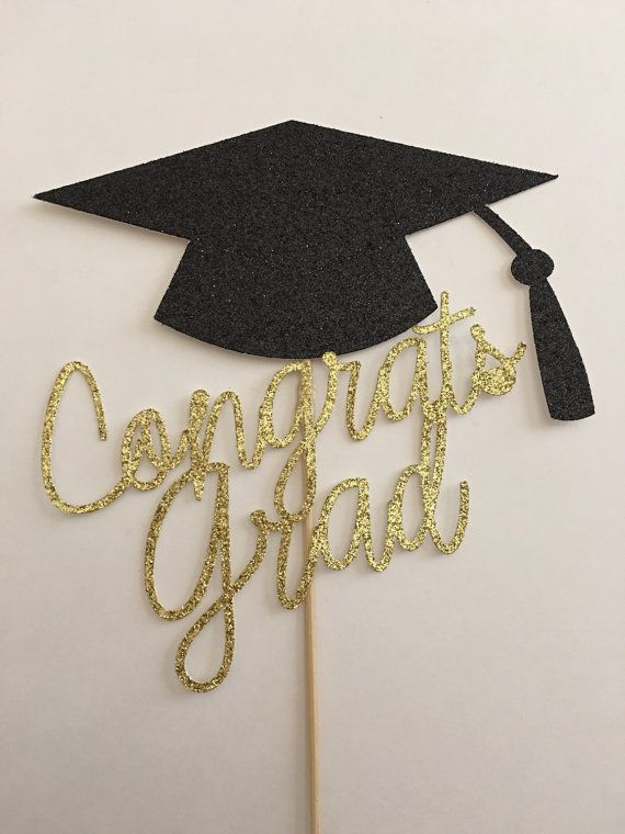 This listing is for a Graduation cake topper done in black and gold card stock (the back is white). This measures 6 inches wide at its widest point and 5 inches tall. There is one bamboo stick attached.  What a great topper for your cake!  This item can be customized to you. Just convo me and I would be glad to create a custom order for you!!  ***IMPORTANT: PLEASE INCLUDE THE DATE OF YOUR EVENT IN THE NOTES SECTION WHEN ORDERING***  Your item will be carefully packaged and shipped to you via…