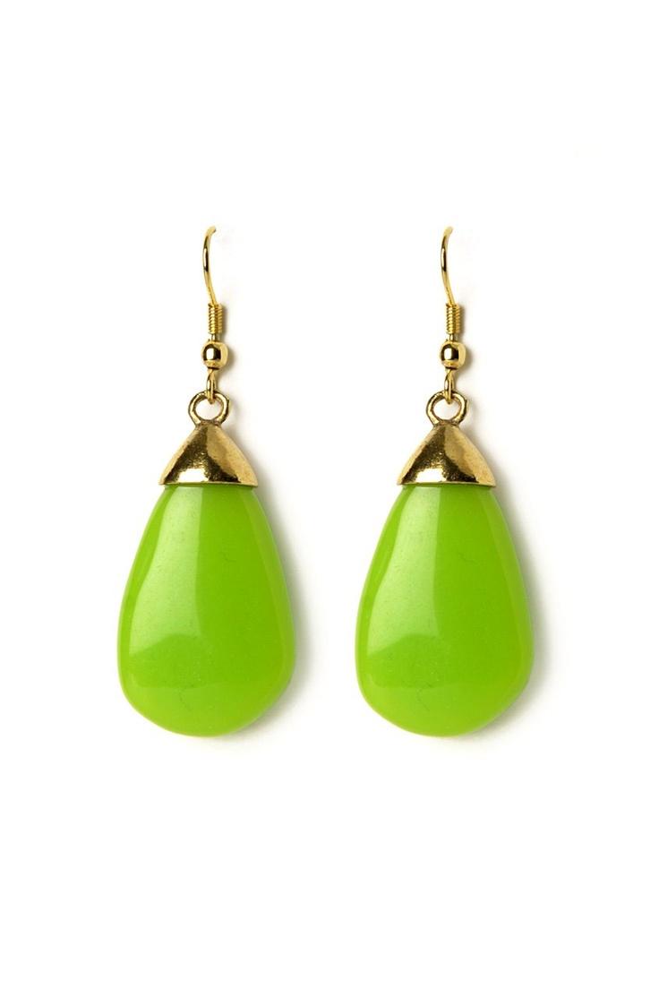 Green Resin-g the Bar Earrings @ www.juvalia.in