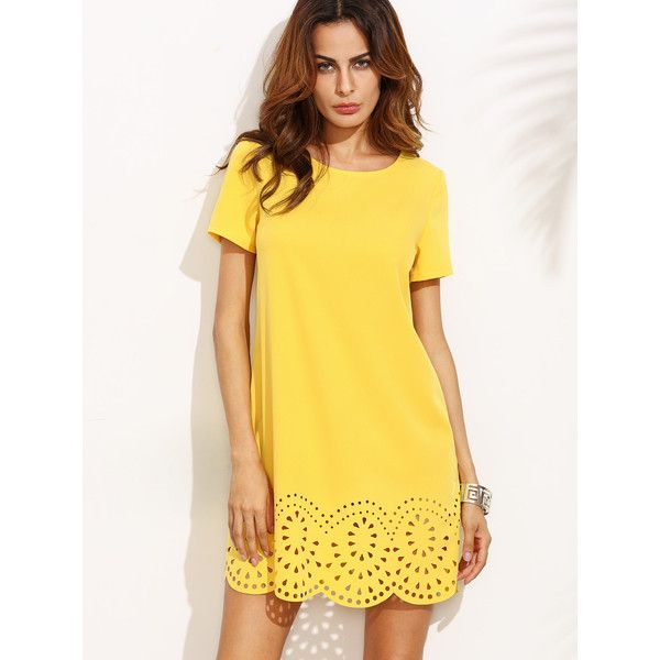 Yellow Short Sleeve Hollow Hem Shift Dress ($13) ❤ liked on Polyvore featuring dresses, yellow, short sleeve shift dress, short dresses, short-sleeve shift dresses, round neck dress and sleeved dresses