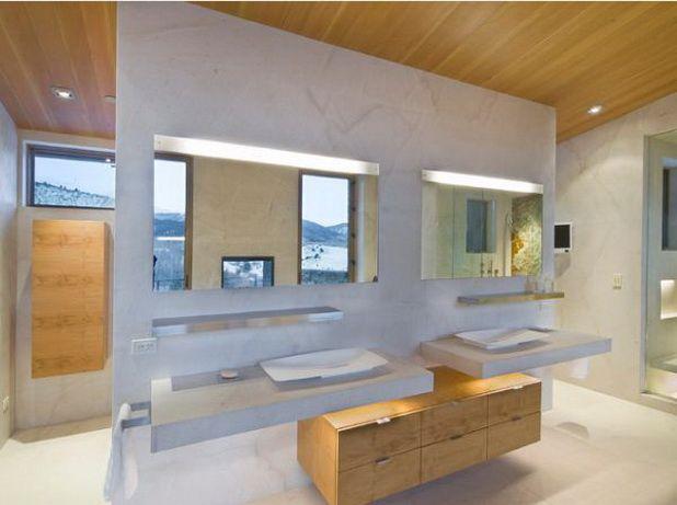 Stylish and Modern Bathroom Vanities Ideas : Modern Double Bathroom Vanity With Storage