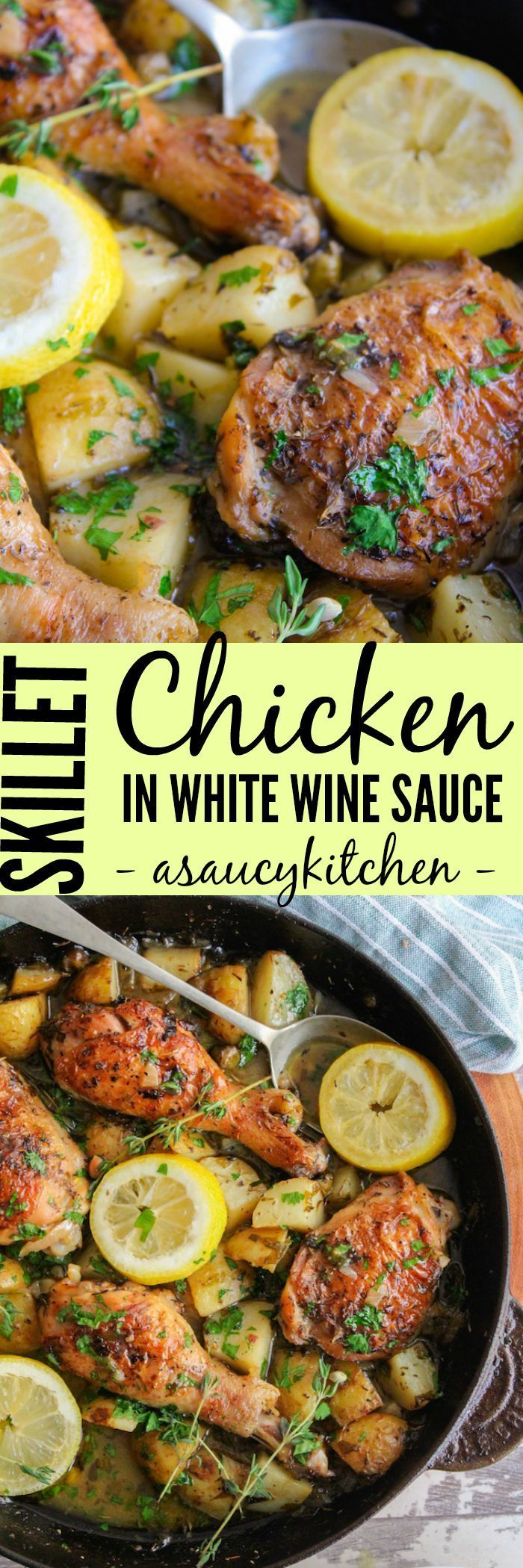 Easy, one pan crispy skillet chicken bathed in a parsley and thyme white wine sauce. So on lazy days I live for simple skillet chicken in white wine sauce.