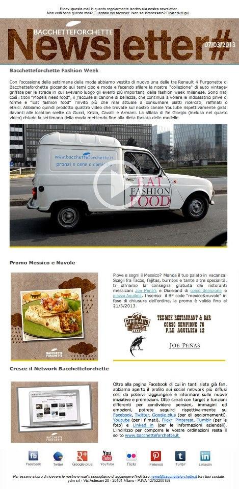 Non avete ricevuto l'ultima newsletter? potete consultarla on line http://bacchetteforchette.voxmail.it/nl/wfkrj/j2ccly?_t=11c635f6 e iscrivervi come privati, professionisti o azienda a qusto link http://www.bacchetteforchette.it/registrazione/ Approfittate della consegna gratuita per i ristoranti Dixileland e Joe Pena's