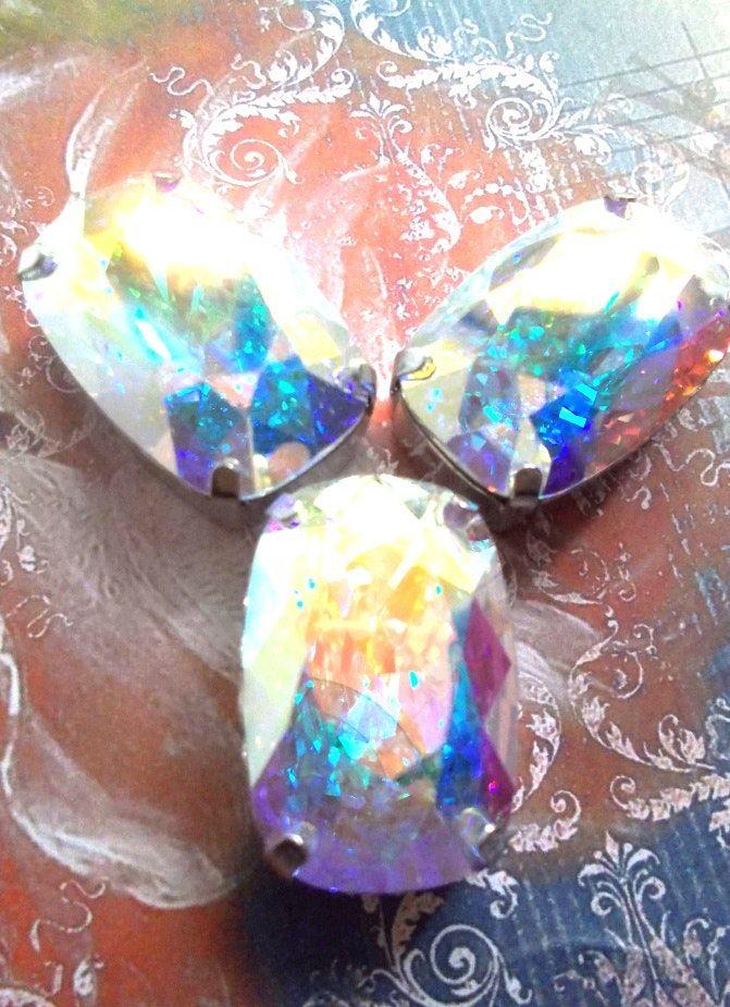 cabochon cristal de Swarovski aurore boréale AB