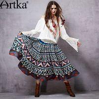 Artka 2015 женская ретро новая коллекция осенней одежды этническая цыганская лоскутная высококачественная широкая элегантная длинная юбка с большими качелями QA15053C