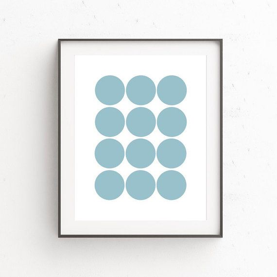 Teal Wall Picture Teal Wall Art Decor Circle Wall by OjuDesign