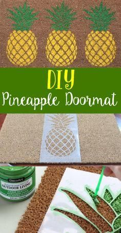 Such a fun summer decoration! Decorate the porch with an easy DIY Pineapple Doormat!