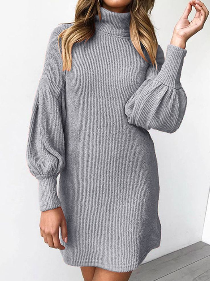 High Neck Long Sleeve Bag Hip Female Dress Mini Dress With Sleeves Sweater Dress Women Sweater Dress