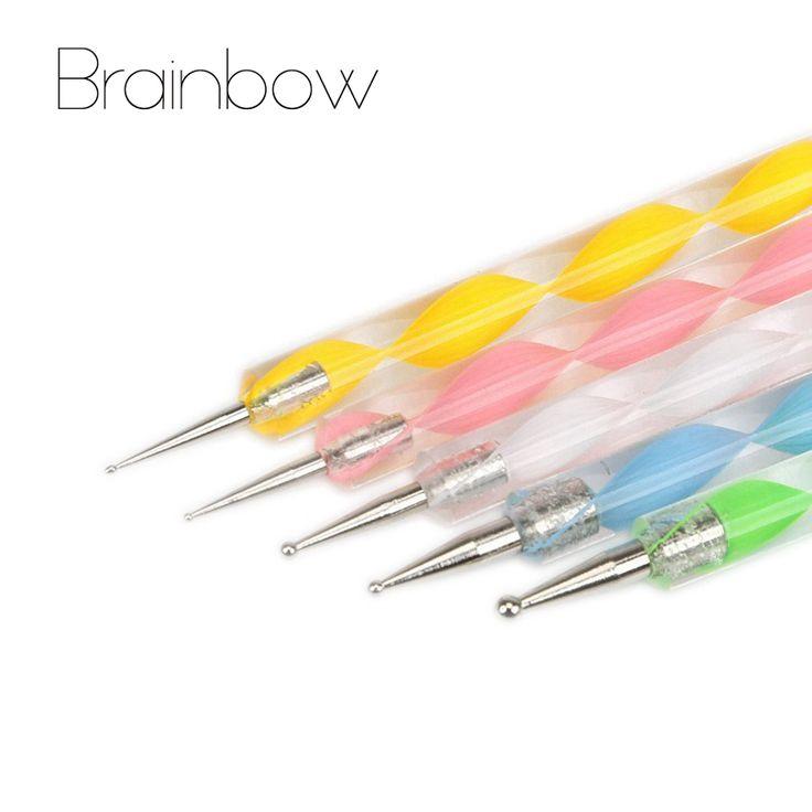 5 stks 2-Way Nail Art Puntjes Pennen Nagellak Pen Boor punt Pen Aluminium Marbleizing Schilderen Dot Tool DIY Nail Art gereedschap