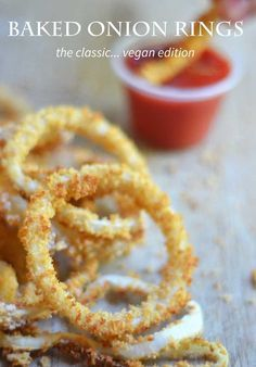 vegan baked onion rings. Crunchy onion rings with no eggs or milk.