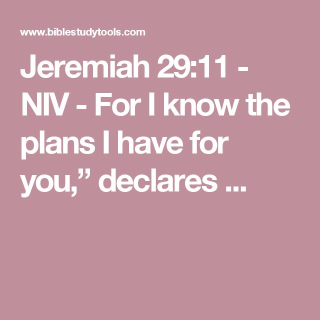 "Jeremiah 29:11 - NIV - For I know the plans I have for you,"" declares ..."