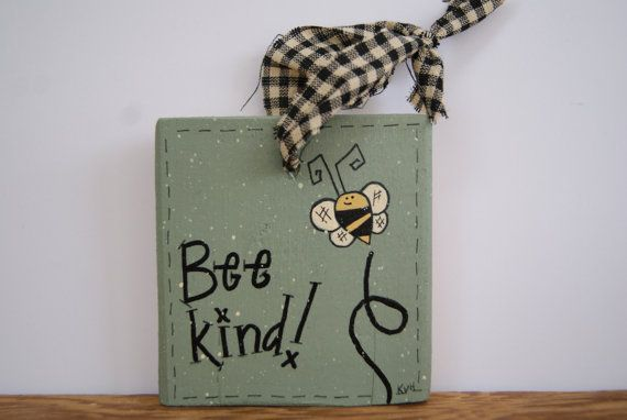 Bumble Bee Mini Sign, Bee Kind Bee Sign, Bumble Bee Decoration, Bee Ornament, Bumble Bee, Small Sign, Wood Sign, Wood Bee Sign, Ornaments