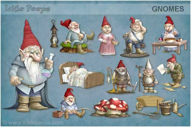 A large set containing 10 Gnomes and 3 additional props in PNG format