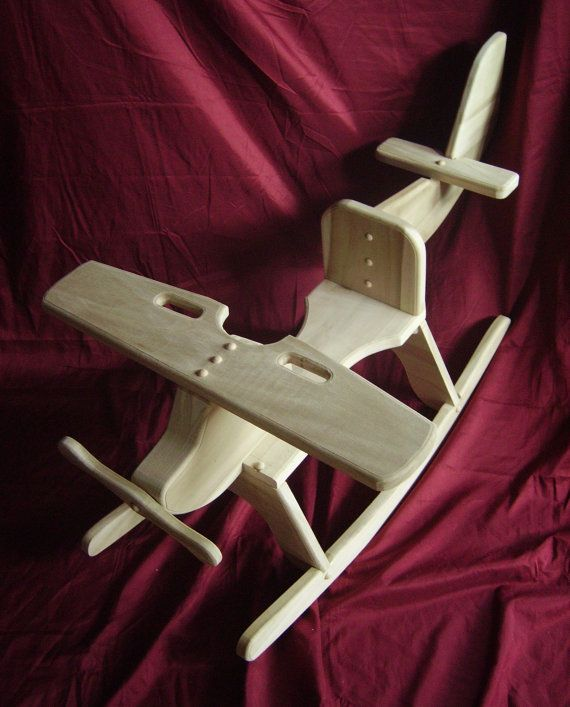 Childrens Wooden Airplane Rocking Chair Rocker