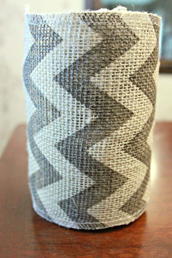 5 1/2 Gray Chevron Ribbon Burlap Ribbon Craft Ribbon by BoaAndBoo, $3.00