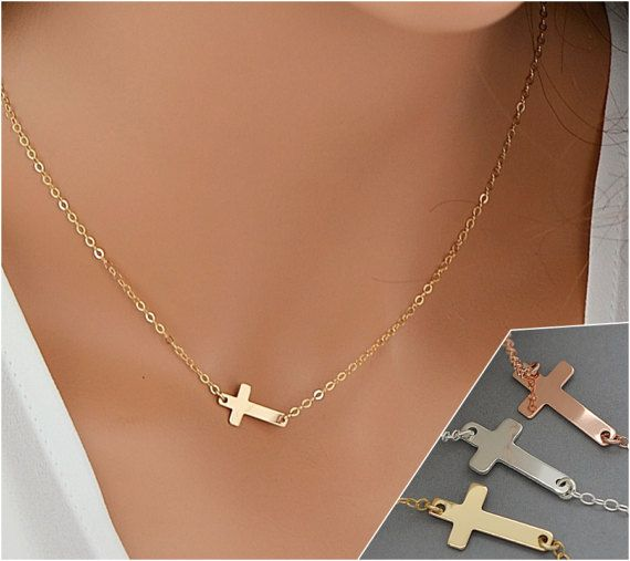 Dainty Cross Necklace, Gold Cross Necklace, Delicate Necklace, Sideways Cross Necklace, Small Cross Necklace by goldenbijoux. Explore more products on http://goldenbijoux.etsy.com