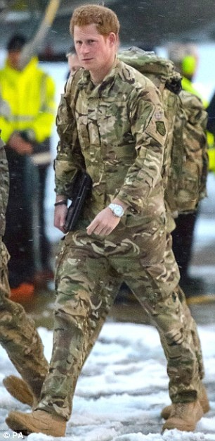 Home: Prince Harry arriving at RAF Brize Norton after returning from a tour of duty in Afghanistan