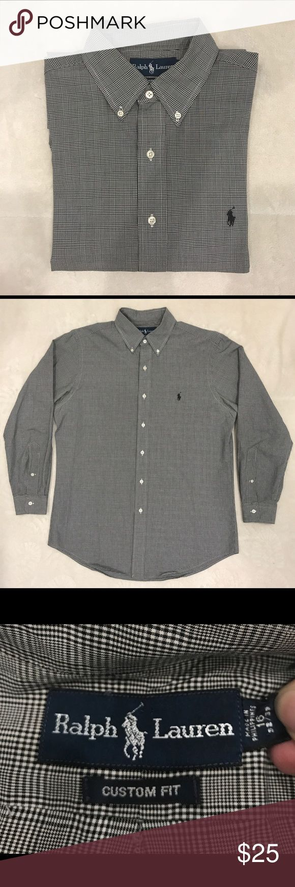 Ralph Lauren custom fit long sleeve dress shirt In pristine condition! Black/grey check pattern. Great neutral dress shirt. No stains, no holes. All buttons intact. Well cared for. From a smoke-free home. 32/33 sleeves. Ralph Lauren Shirts Dress Shirts