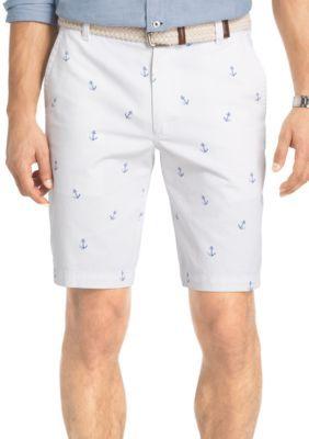 IZOD Bright White Flat Front Anchor Print Shorts