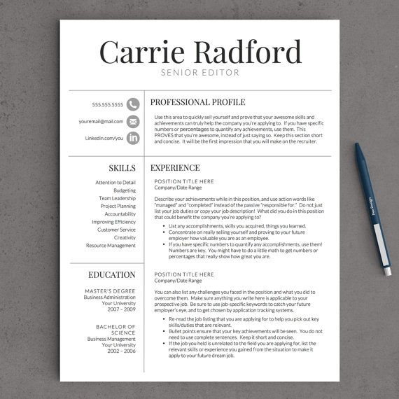 resume template professional resume template cv template for word and pages one two and three page resume instant download resume