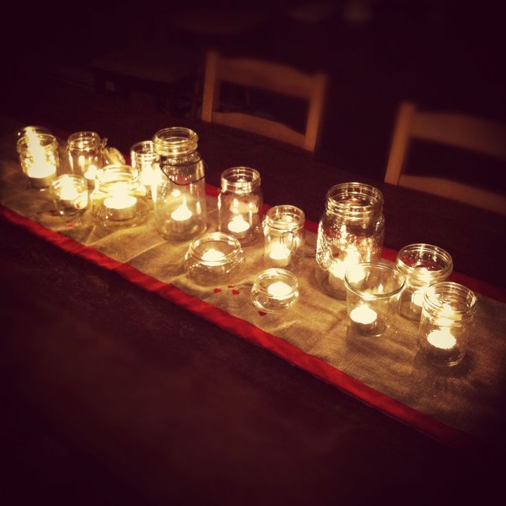 tea lights in jars - inspiring centerpiece from @Aimee | Simple Bites: