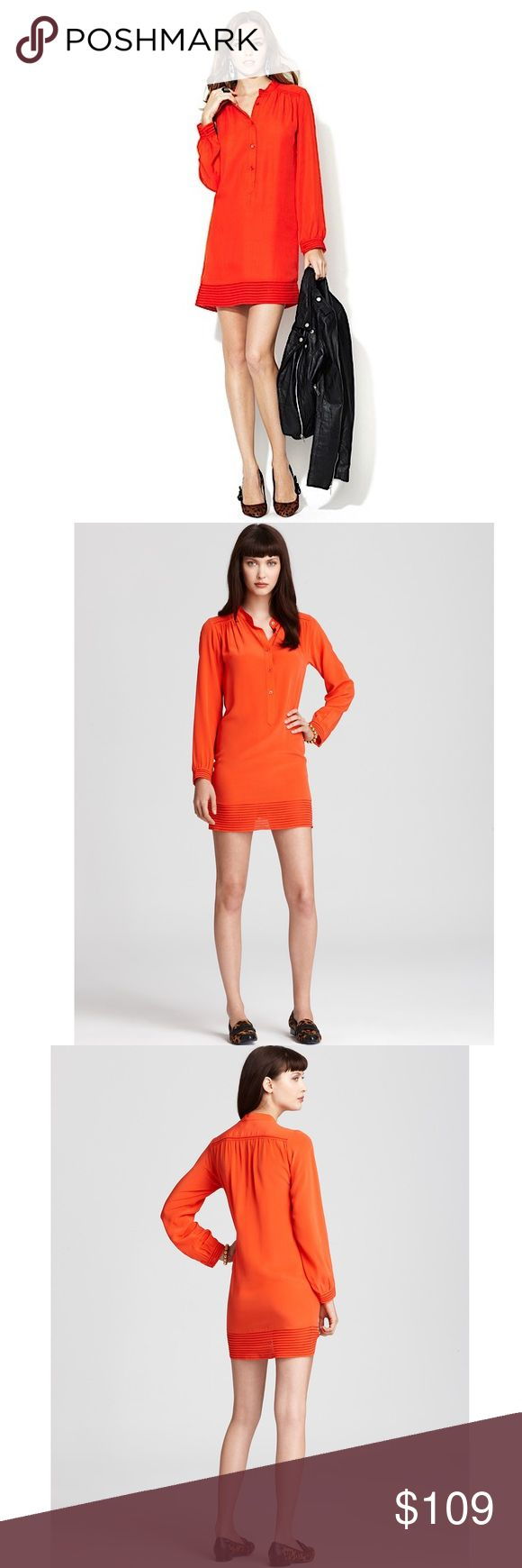 REBECCA MINKOFF NWT long sleeve orange Roxy dress REBECCA MINKOFF NWT long sleeve orange Roxy dress. Light weight, fully lined except for sleeves. Button closure down the chest. Beautiful dress, perfect transitional piece from summer to fall. Brand new with tag, however, there is a small tear near the last button as shown in the last photo (but I think you can sew it together with a sewing machine) Rebecca Minkoff Dresses Long Sleeve
