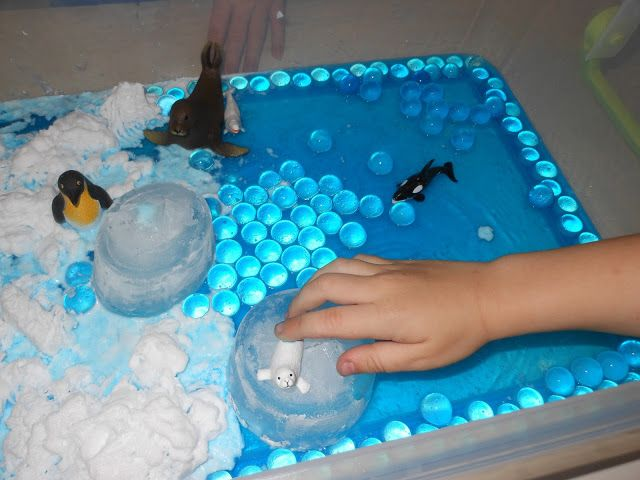 Teaching about Endangered Ocean Animals, and Global warming through Sensory play