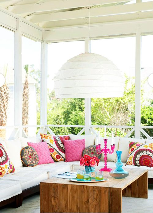 Not sure about the huge lampshade..but everything else is SOOOO gorgeous!: Screens Porches, Outdoor Porches, Sun Porches, Coff Tables, Backyard Oasis, Outdoor Spaces, Bright Colors, Sun Rooms, Sunroom