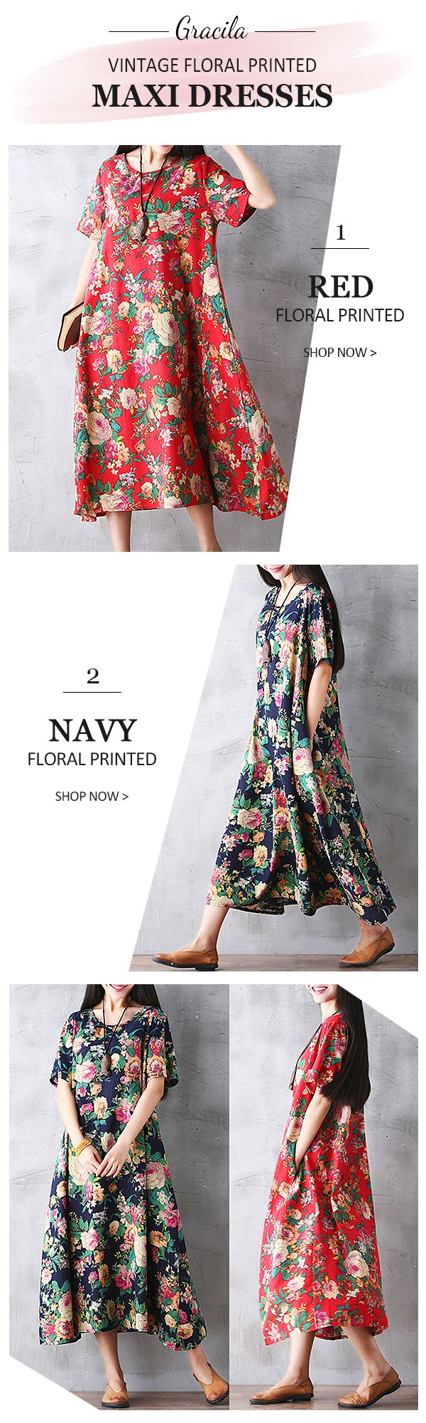 US$ 20.94 Gracila Women Vintage Floral Printed Loose Short Sleeve Maxi Dresses