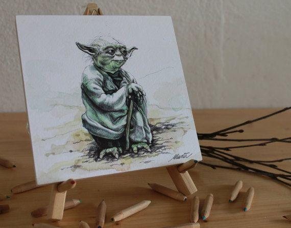 Maestro Yoda (Star Wars). 15x15cm; acquarello e penna su carta.