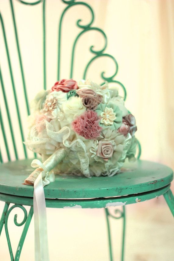 Bridal Bouquet Materials : Wedding bouquet bridal men boutonnieres pastel fabric flowers custom