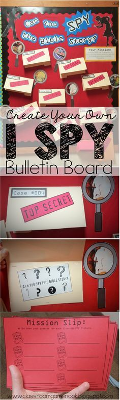 """Create your own """"I SPY"""" interactive bulletin board!  Check out this post for a video tutorial on how to create the bulletin board using PPT!  Freebies included!"""