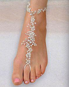 Eleganter Perlenfußschmuck – Barfußsandalen für Hochzeiten   – Jewerly