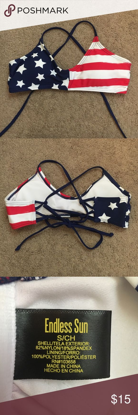 American flag bikini top American flag bikini top only worn one time! Size small. Not Victoria's Secret, it was bought from Kohls. Victoria's Secret Swim Bikinis