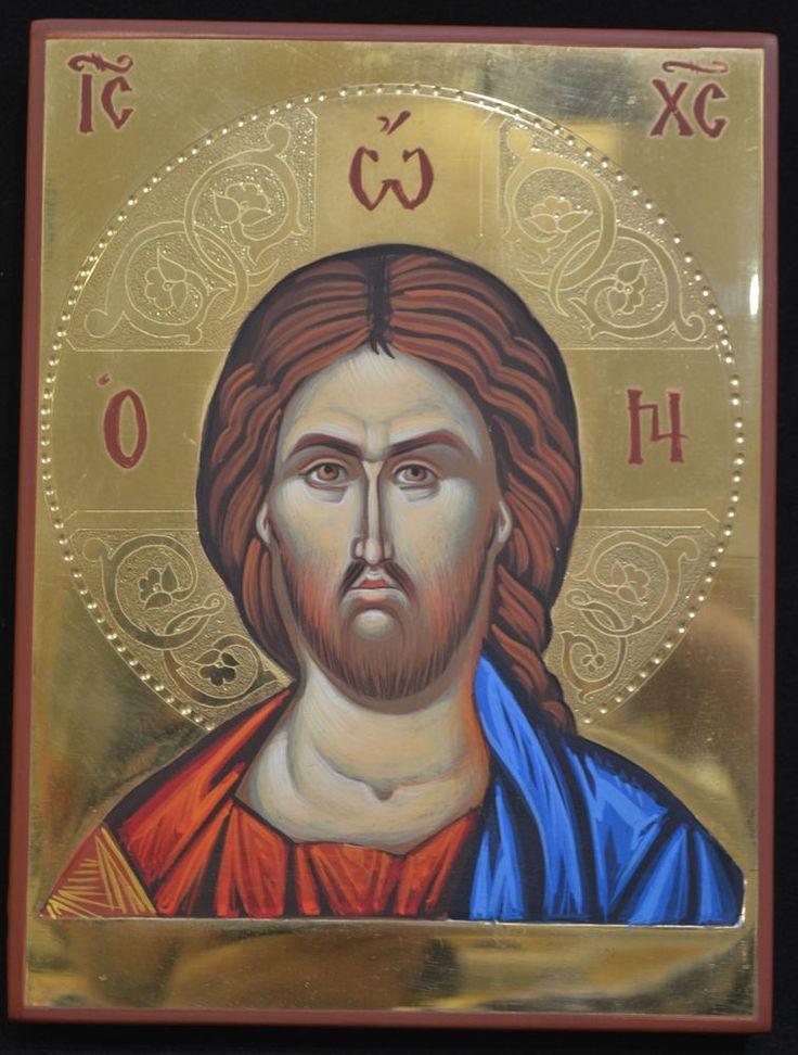 Orthodox Icon Handpainted Greek Byzantine 24K GOLD Jesus Christ Mount ATHOS