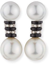 Belpearl South Sea Double Pearl Earrings with Black Spinel & Diamonds