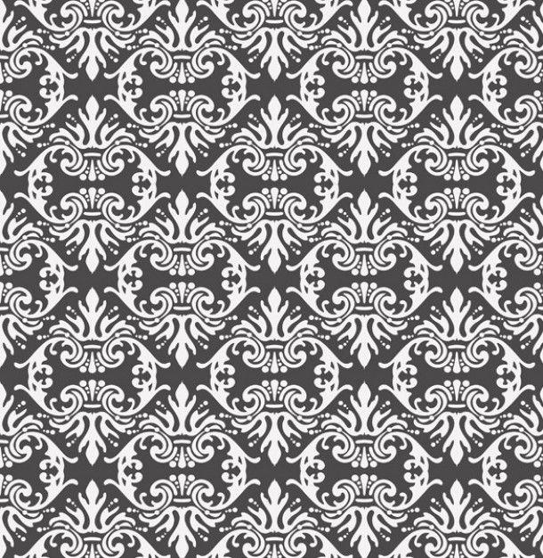 Vintage black & white damask pattern background Freepik