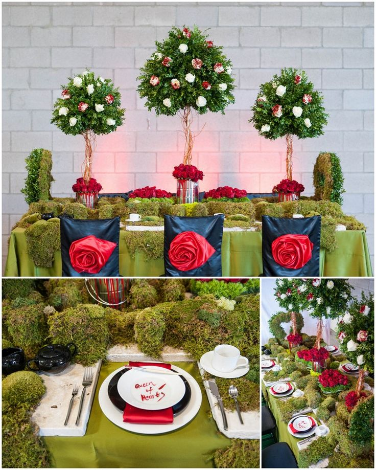 """Mayesh Phoenix Tablescape Charity: American Heart Association Phoenix Chapter  Concept: We are doing an Alice in Wonderland/Queen of Hearts motif with """"painted roses"""" as our focal. We will partially paint white roses red to embody the storyline and there will be a table top hedge maze as well.  Sponsors: Flower Bar; Wildflower Linen; Classic Party Rentals; Photos by Savidge Photography"""