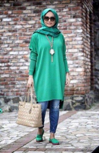 green long tunic hijab look