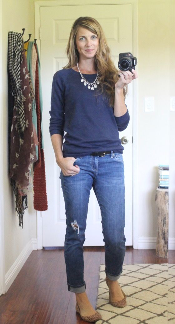 The Pleated Poppy: boyfriend jeans, statement necklace and animal print flats