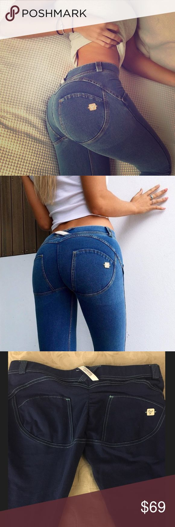 Authentic Freddy Store USA Denim Fabric: 80% Cotton, 20% Elastane. Designed especially to produce a push-up effect; These WR.UP® Denim trousers shape and improve your figure, thanks to a clever combination of stitching, tailoring and, especially, silicone typical of FREDDY WR.UP® technology. Jeans Skinny
