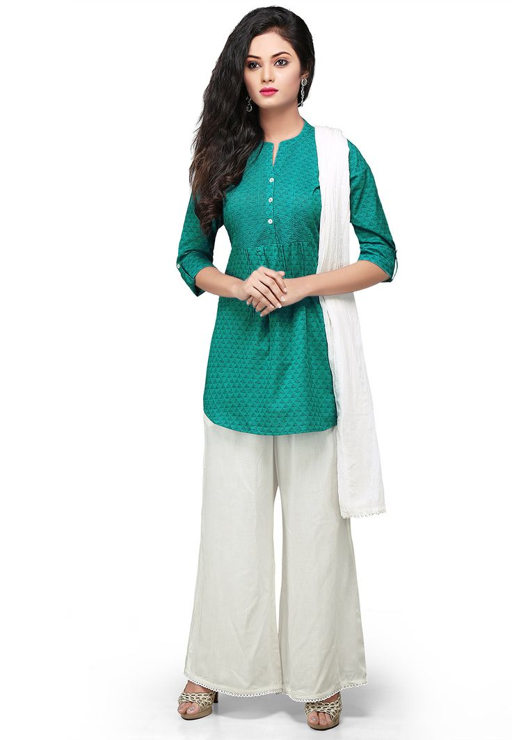 TEAL GREEN COTTON READYMADE KAMEEZ WITH PALAZZO