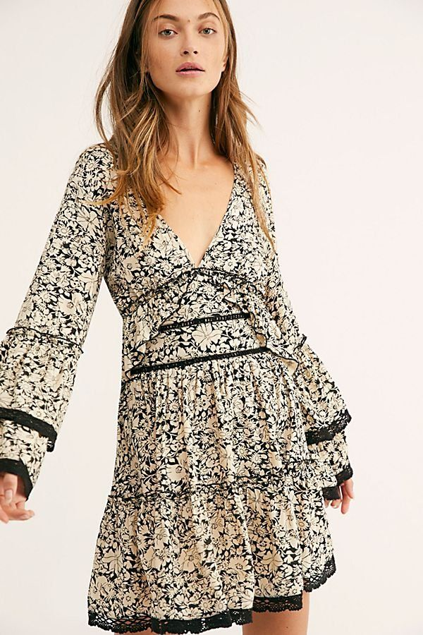 1613281dcedee Kristall Mini Dress - Cream and Black Floral Long Sleeve V-Neck Mini Dress  with Ruffle Detail and Open Back - Floral Mini Dresses - Boho Mini Dresses  - Free ...