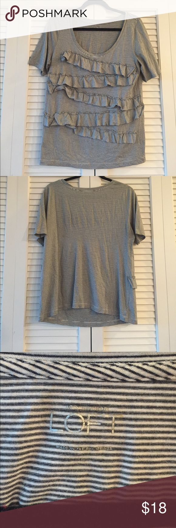 Loft Ruffled Top Loft striped short sleeve top with great ruffle detail in size large. LOFT Tops Tees - Short Sleeve