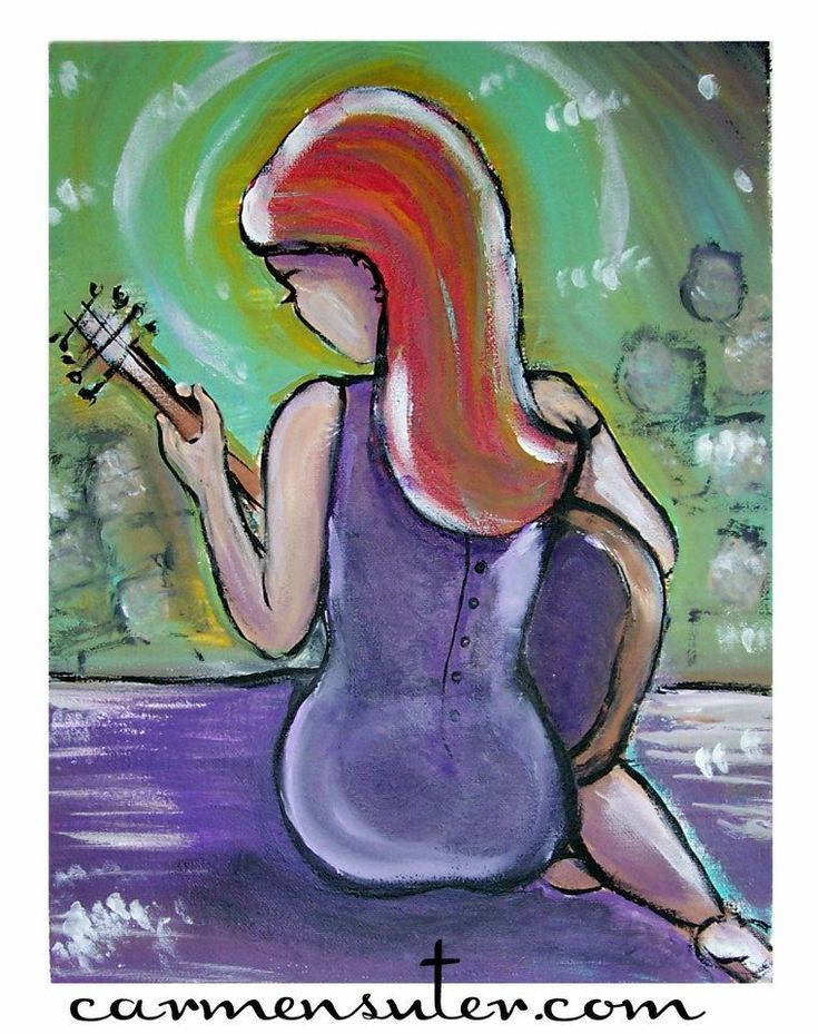 """My Guitar Gently Weeps -  11"""" x 14"""" Acrylic on Canvas Painting by Carmen Suter"""